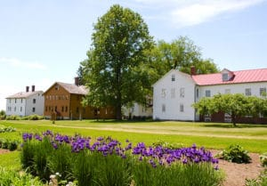 Summer at Historic Canterbury Shaker Village and flower gardens