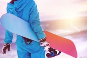 snowboarder on skiing slope