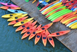 Colorful kayaks docked