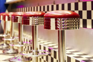Retro Diner with red bar stools at a Laconia Restaurant