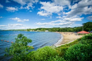 View of Endicott Rock Park Beach along Lake Winnipesaukee in Weirs Beach Laconia in the Lakes Region NH