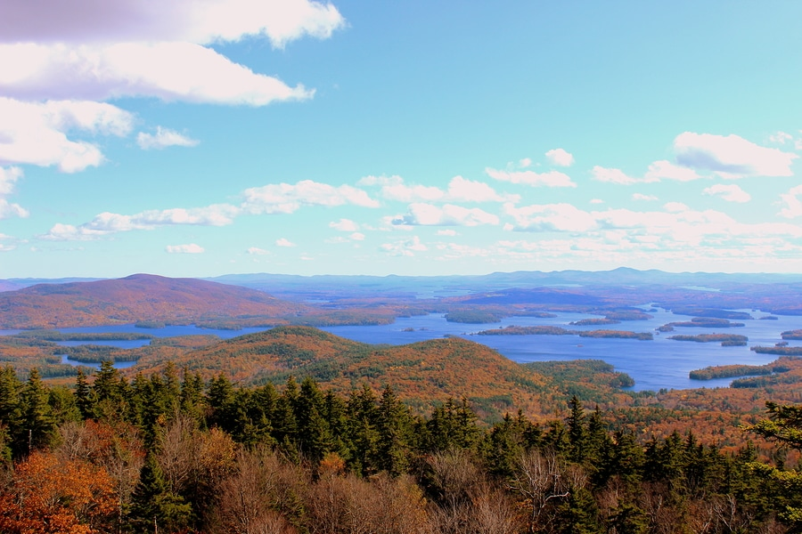 View of Squam Lake during a seaplane tour one of the wonderful things to do in Laconia NH