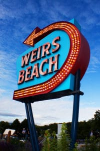 Weirs Beach NH sign on of the best things to do in Laconia NH
