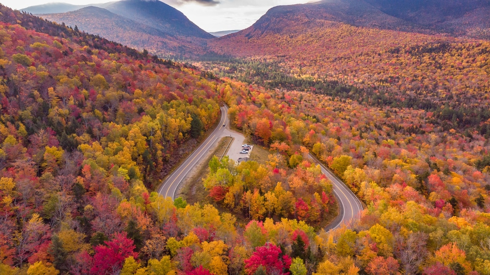 Enjoy a scenic drive in New Hampshire along the famous Kancamagus Scenic Byway